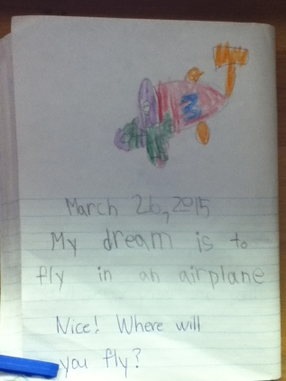 In this variation, students simply drew and wrote what their dreams were. Then the teacher responded.