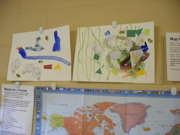 Since the pussycat in the story goes all over the world, children made their own maps.