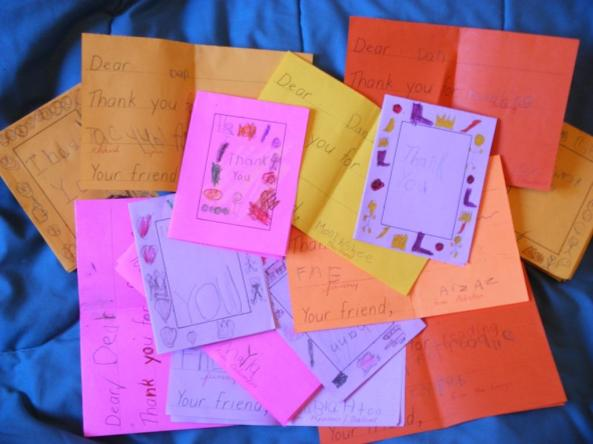 Nothing makes an author happier than a bunch of cards in the mail after a school visit.